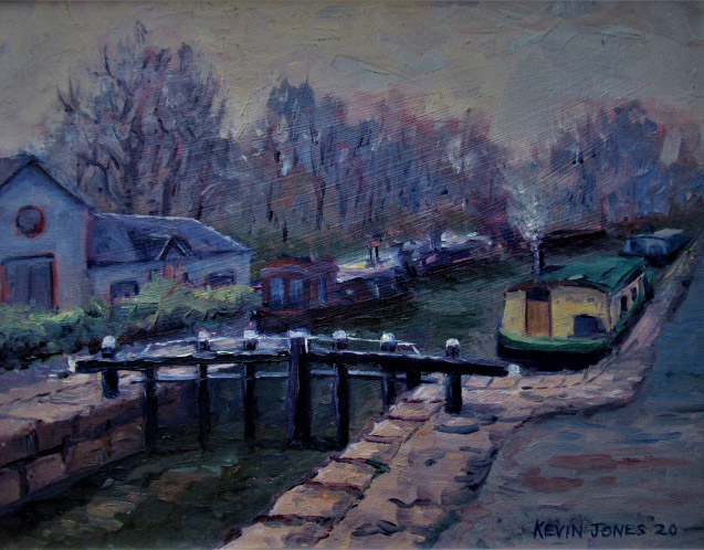 Winter on the canal. oil on board. 26cm x 20