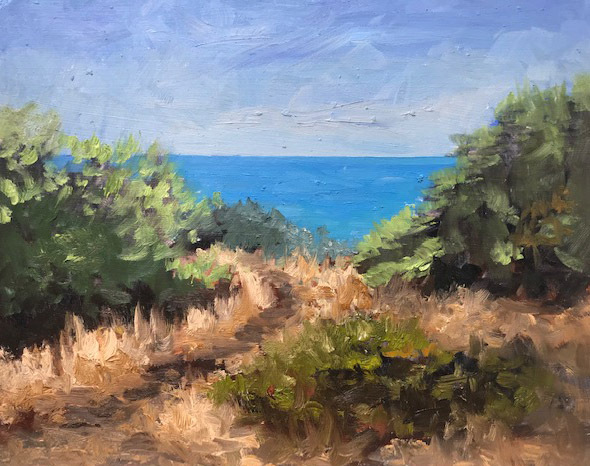 Path way to the sea. oil on board. 26cmX20cm.